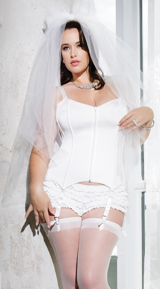 Plus Size Zip Front Sweetheart Corset - White