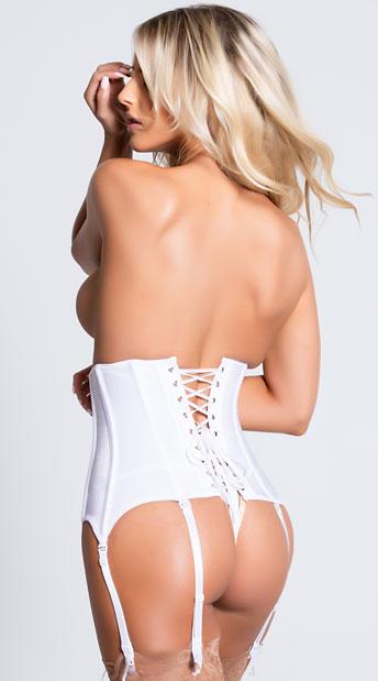 Zip Front Stretch Waist Cincher - White