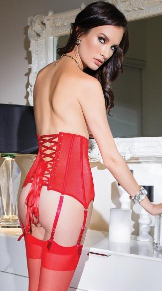 Zip Front Stretch Waist Cincher - Red