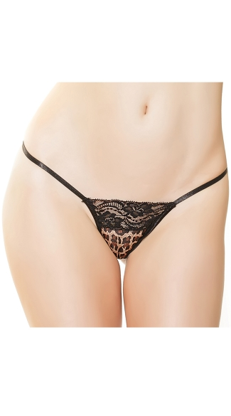 Plus Size Leopard and Lace G-String, Plus Size Lace G-String, Plus Size Leopard G-String