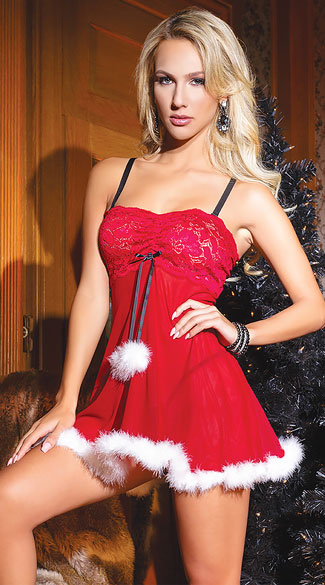 Sexy Santa Babydoll Set Red And White Babydoll Set