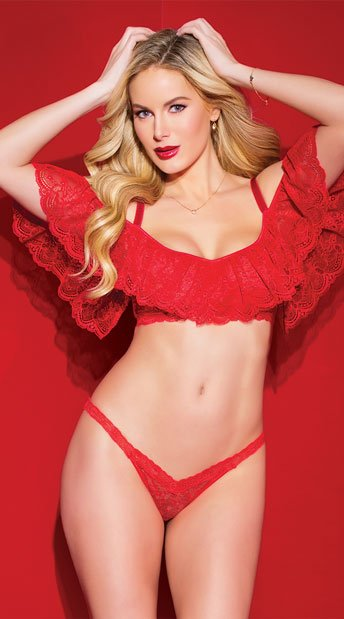 Alluring Ruffled Bra Set - Red ... 2340a5026