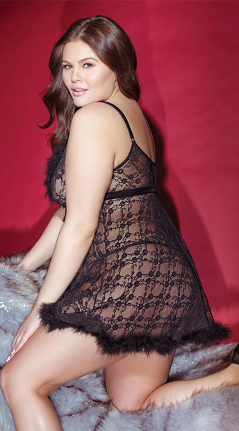 Plus Size Fur-Ever Lace Babydoll Set - Black