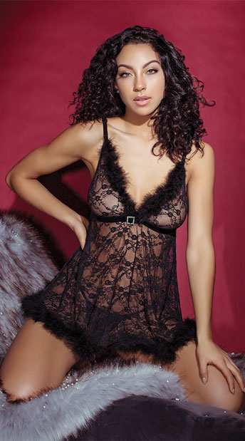 Fur-Ever Lace Babydoll Set - Black