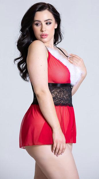 Plus Size Hot Helper Romper - Red/Black