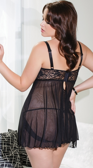 Plus Size Bustin' Out Open Cup Babydoll - Black