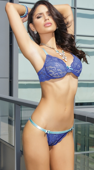 She\'s a Gem Bra and Bikini Panty, Blue Lace Bra and Panty