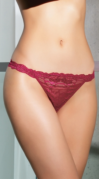 Plus Size Burgundy Beauty Thong - Merlot