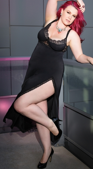 Plus Size Totally Tempting Lingerie Gown - Black