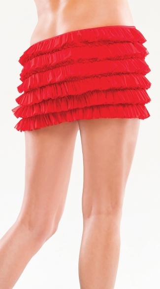 Mesh Ruffle Skirt - Red