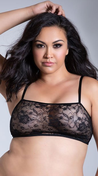 bcebe17d0ba29 Plus Size Stretch Lace Bralette - Black ...