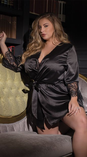 97c570a02b Plus Size Draping Satin and Lace Robe - Black ...