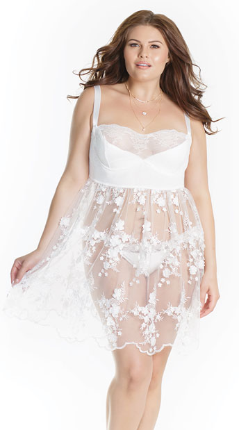 1f1d38539026f Plus Size Sheer Sophistication Babydoll - White ...
