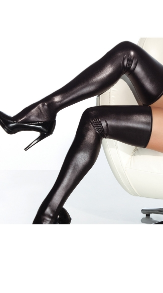 Plus Size Sexy Black Metallic Thigh Highs - as shown