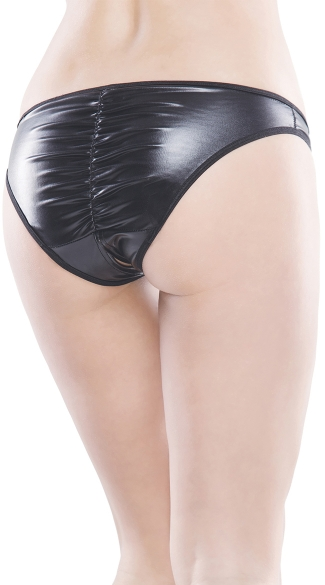 Wet Look Crotchless Panty - Black