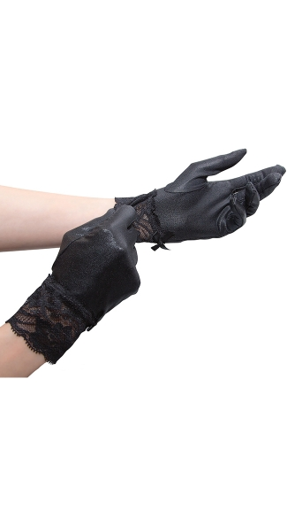 Wet Look Wrist Gloves - Black