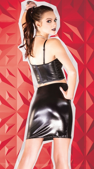 Wet Look Bustier and Skirt - as shown