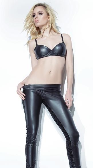 Black Wet Look Bra and Pants - as shown