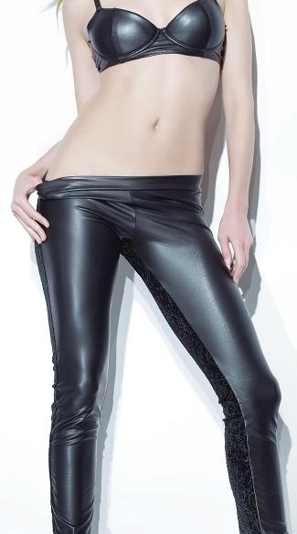 Velvet and Matte Wet Look Pants - Black