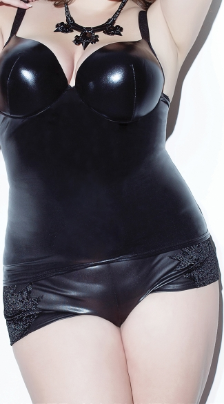 Plus Size Velvet and Wet Look Booty Shorts - Black