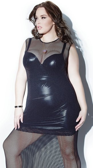 Plus Size Fishnet and Wet Look Gown - as shown