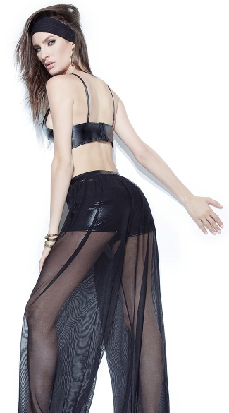 Wet Look and Mesh Crop Top and Pants - as shown