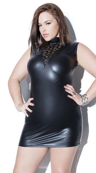 Plus Size Swirling High Neck Dress Plus Size Black Wet Look Dress