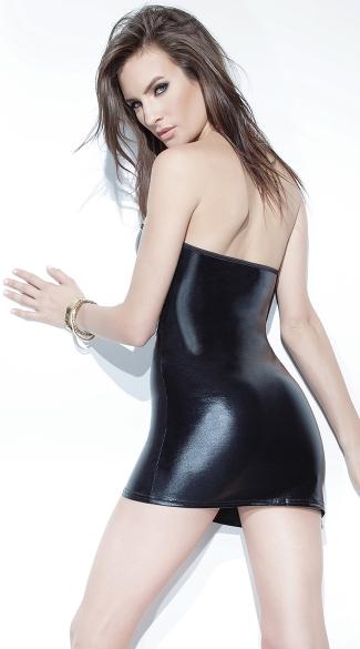 Wetlook Tube Dress - Black