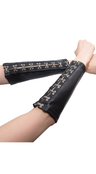 Plus Size Wet Look Arm Sleeves - Black