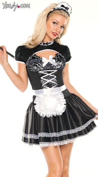 Flirty French Maid Costume Frilly Maid Costume Upstairs