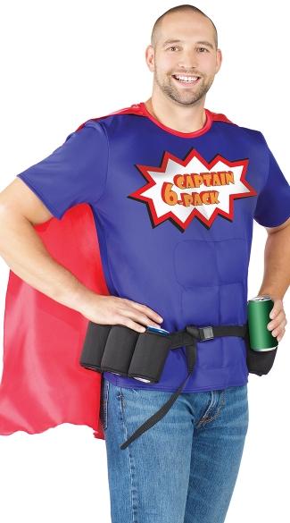 Men's Super Six-Pack Hero Costume - Blue/Red