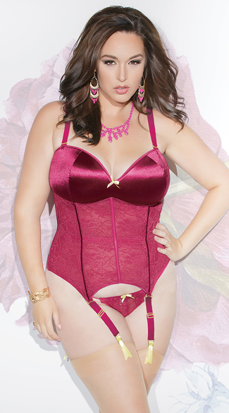 Plus Size Raspberry Satin and Lace Bustier, Plus Size Magenta Lace Bustier, Plus Size Satin and Lace Bustier