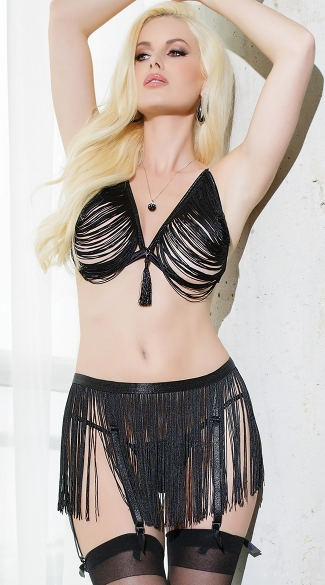 Fringe Bra and Garter Belt Set, Draped Fringe Bra and Garterbelt