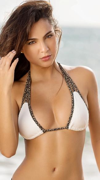 White Leopard Halter Bikini Top - Ivory/Cheetah