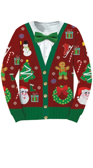 Plus Size Ugly Christmas Cardigan Sweater Shirt - As Shown