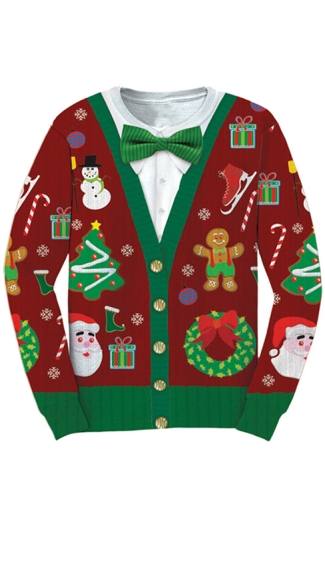 Ugly Christmas Cardigan Sweater, Christmas Sweater With Bow Tie
