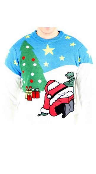Santa Crack Ugly Christmas Sweater - As Shown