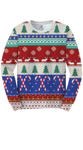 Plus Size Faux Printed Ugly Christmas Sweater Shirt - As Shown