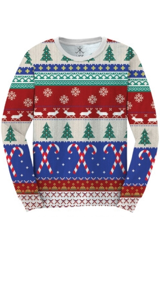 Faux Printed Ugly Christmas Sweater Shirt - As Shown
