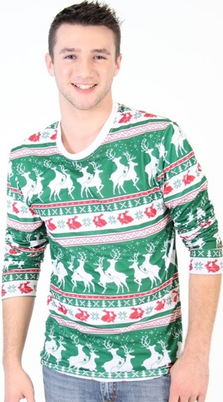Reindeers And Rabbits Faux Ugly Christmas Sweater Shirt - As Shown