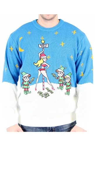 North Pole Stripper Ugly Christmas Sweater - As Shown