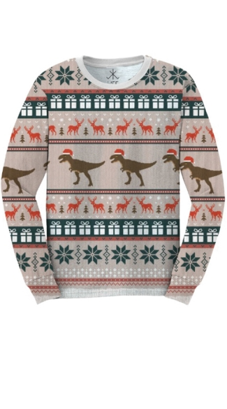 Plus Size T-Rex Faux Ugly Christmas Sweater Shirt - As Shown
