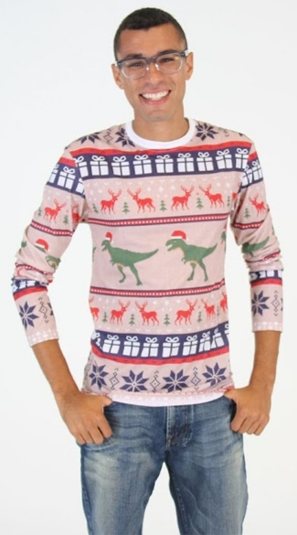 T-Rex Faux Ugly Christmas Sweater Shirt - As Shown