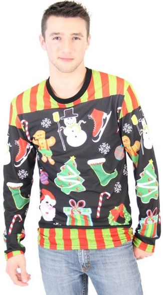 Plus Size Xmas Icons Faux Ugly Sweater Shirt - As Shown