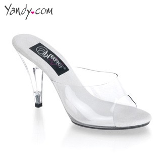 Clear Peep Toe Stiletto with Cone Heel - Clear