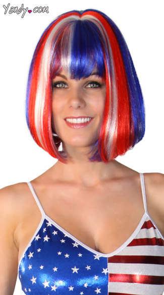 USA Wig, Patriotic Wig, USA Olympic Wig, Red White and Blue Wig, Cindy United Wig