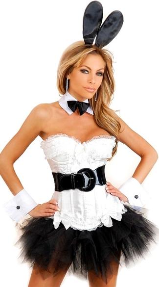 Plus Size Boudoir Bunny Corset Costume - Black/White
