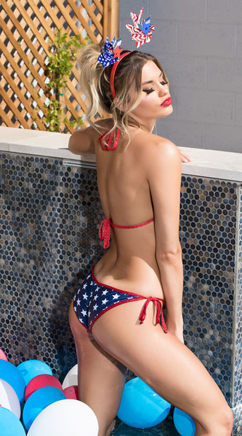 Firecracker Scrunch Back Bikini Sexy Patriotic Bikini