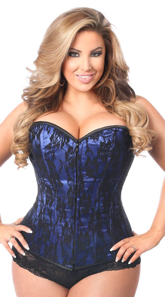 Plus Size Lavish Blue Lace Corset, Plus Size Blue and Black Corset, Plus Size Blue Satin and Lace Corset