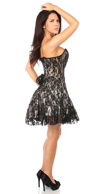 Sexy Tan Lace Corset Dress - Tan